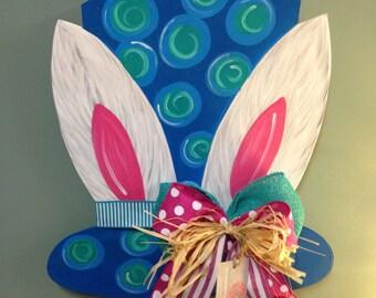 Bunny ear top hat door hanger