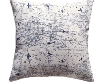Airplane Throw Pillow, Air Traffic Navy Decorative Pillow Cover, Airplane Map Accent Zippered Pillow Cover, Navy Pillow, Nursery Pillow