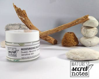 Moisturizing Face Cream, Sensitive Skin, Moisturizing Cream, Organic Skin Care, Organic Face Care, Organic Face Moisturizer, Sweet Almond