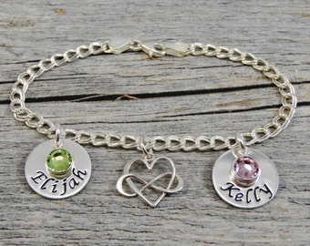 Hand Stamped Jewelry - Personalized Jewelry - Mom Bracelet - Sterling Silver Charm Bracelet - Two Names Two Birthstones - Infinity Heart