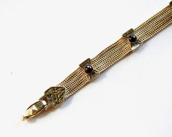Sterling Silver Garnet Mesh Bracelet