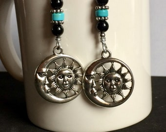 Moon Sun Earrings with Turquoise and Onyx