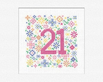 21st  Birthday  Cross Stitch Card Kit from Heritage Crafts, Occasions Counted Cross Stitch Kit , birthday card kit