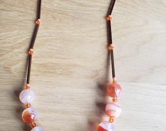 Natural stone necklace, orange necklace, crystal necklace, swarovski necklace, statement necklace, gifts for her