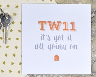 Personalised new home card - postcode - housewarming card, house warming card