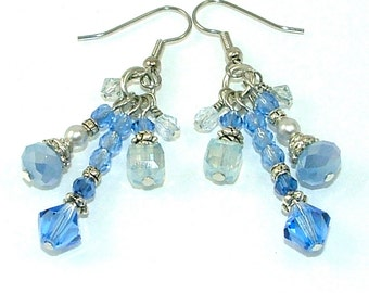 MAJOR MARKDOWN - Elegant Sapphire Crystal Tassel Statement Earrings - Light Denim Blue
