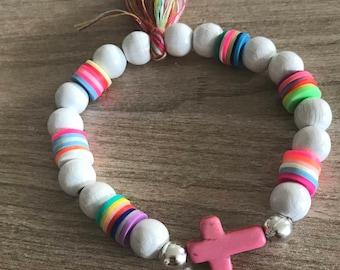 Bracelet Bohemian pink cross
