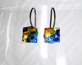 Earrings, Dangle, Blue, Yellow, Flowers, Brass, 8mm, Gift.
