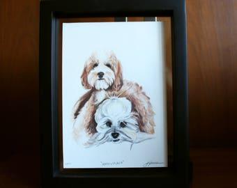 "2 Pet Custom Hand-Drawn Colored Pencil Drawing 8x10"""