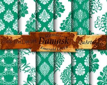 Emerald Green Damask Scrapbook Digital Paper: Pack Printable Backdrops, Instant Download, printable background, lucky, flower, QuartCrafts