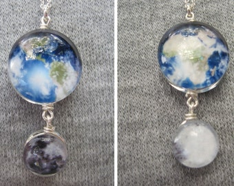Mini Earth and Moon Double Sided Sterling Silver necklace, Hand-Made