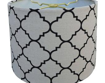 Royal Designs Linen Eggshell and Black Moroccan Print Hardback Lamp Shade
