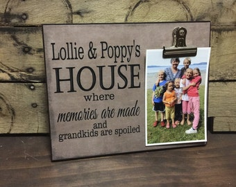 Grandparents Picture Frame, Where Memories Are Made And Grandkids Are Spoiled, Grandparents Gift