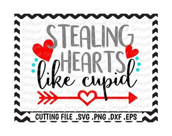 Cupid Svg, Valentine Svg, Stealing Hearts Like Cupid Svg-Png-Dxf-Eps Cutting Files For Cricut and Silhouette Cameo, SVG Download.