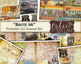 Printable, Journal Kit, Route 66, Journal Pages, Journaling Spot, Travel Journal, Printable Paper, Digital Kit, Cars Journal, Mens Journal