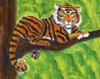 "Tiger art card, 5"" x 5"" blank card, Tiger with a drink, Animal Spirit card"