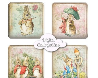80% off Mothers Day Sale Shabby Chic Peter Rabbit Party Easter Digital Collage 1 inch square Tile Digital Collage Sheet Jewelry Images Digit