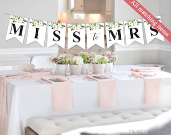 Bridal Shower Banner Template. Printable White Flower Banner. Watercolor Modern Gold Calligraphy Watercolor Greenery Banner. Download PDF