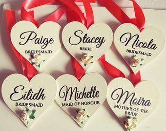 Beautiful personalised wooden hearts, a lovely gift for your bridal party