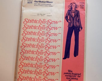 Vintage Stretch & Sew 1035 one button blazer sewing pattern by Ann Person