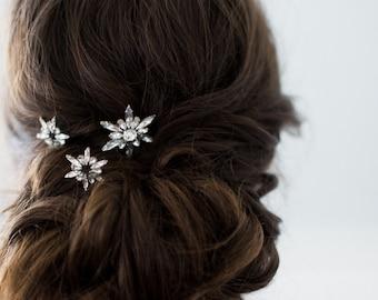 LEANDRE set of 3 celestial art deco bridal bobby pins, boho star wedding hair pins, crystal sparkly bohemian hair combs