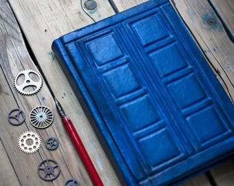 Doctor Who leather journal River Song's journal Tardis leather journal  Doctor Who Inspired  Tardis notebook  Diary Tardis travel journal