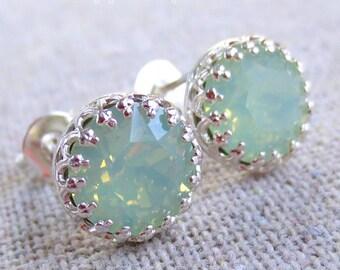 Swarovski Mint Opal Brilliant Diamond Cut Round Crystal Chaton Silver Crown Post Earrings Wedding Bridal Jewelry Bridesmaids Ask Gifts