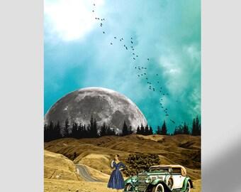 Vintage print Carretera perdida, Poster 43x60 cm, Instant download, Surreal art, Moon planet, Antique car, Elegant woman, landscape