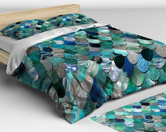 Mermaid Bedding Teal -  Duvet Cover - Mermaid Bedding - Twin, Full, Queen, King Sizes - Available in Three Colors