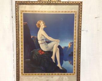 "Vintage framed print ""Sitting on top of the World"""