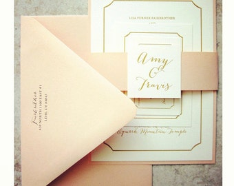 100 - Peach and Gold Wedding Invitations and RSVP Cards // Wedding Announcement // Blush // Monogram // Belly Band // Spring Wedding // 5x7
