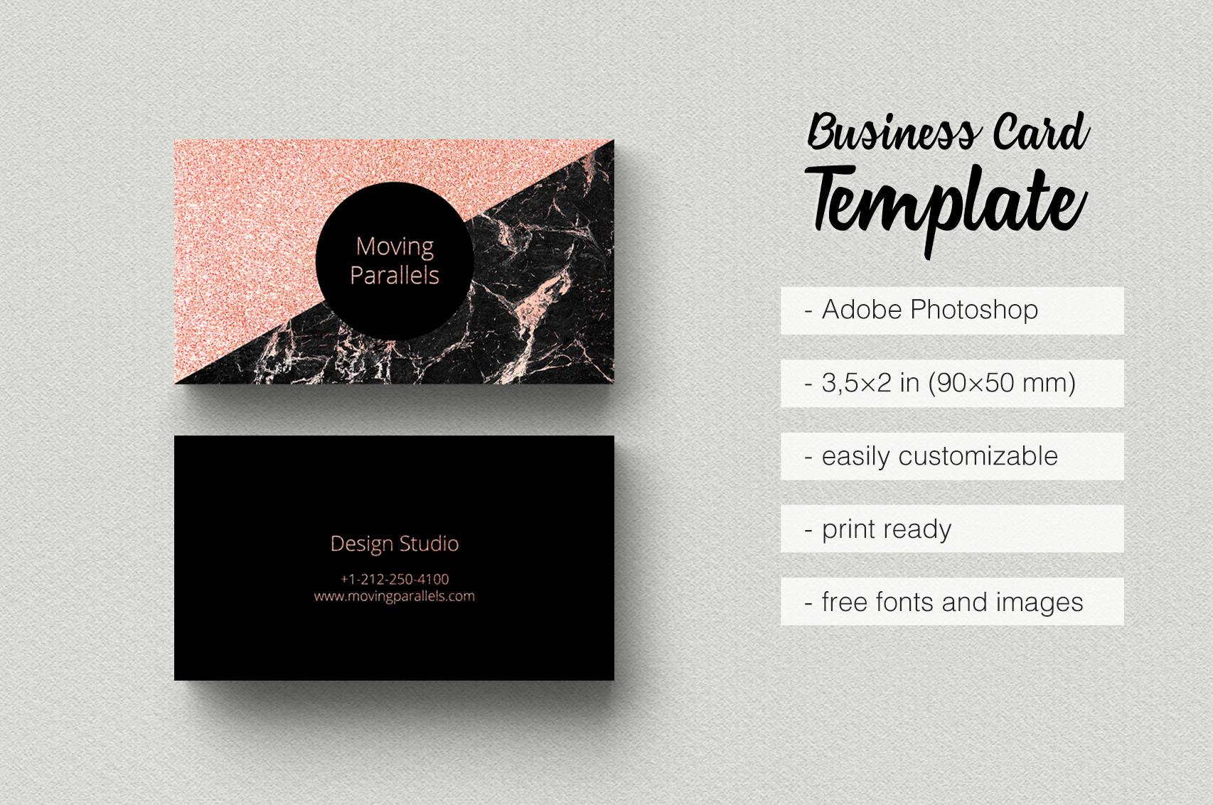 Rose Gold White Black Marble Glitter Foil Business Card