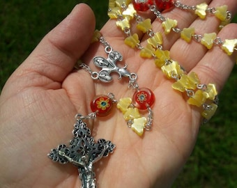 Yellow Cats Eye Fiber Optic Glass Butterfly Flower Rosary, Catholic Gift, First Communion, Confirmation, Wedding, Baptism, Christening Gift