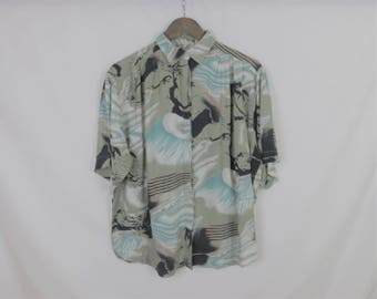 Vintage Brown and Blue Button Up Shirt