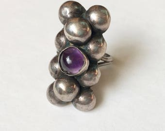 old Mexican amethyst flower dome ring, size 5.25