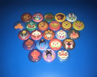 "OVERWATCH Pins Year of the Rooster Icons - 1"" Pin Badge Pinback Button - {you CHOOSE} [Winter Wonderland Icons Available] Chinese New Year"