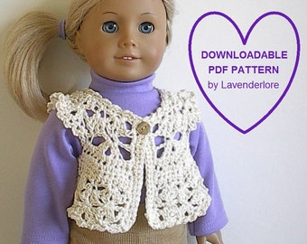Dainty Crochet Vest PDF Pattern by Lavenderlore for 18 Inch Dolls - Permission to Sell Finished Item