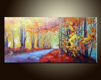 "Autumn River Landscape Painting Original Painting Canvas Painting Impasto Texture Oil Painting Palette Knife Oil Painting 48"" Large Painting"