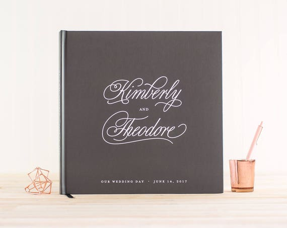 Wedding Guest Book wedding book gray wedding guestbook 12x12 personalized hardcover guestbook planner lined black pages photo guest book