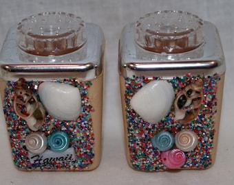 Souvenir Hawaii Shell Glitter salt and pepper shakers - Mid Century Modern
