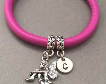 Fairy leather bracelet, fairy charm bracelet, leather bangle, personalized bracelet, initial bracelet, monogram