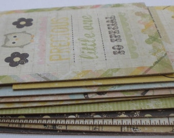 BABY STEPS  Journal Cards Chipboard Die Cuts - Journaling Picture Embellishments - 12 Pieces