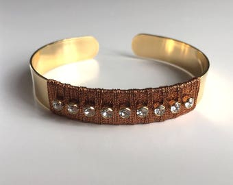 Gold Bangle Bracelet, copper wire and Swarovski rhinestones