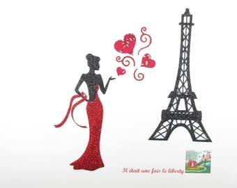 """Appliqué thermocollant Tour Eiffel """"Paris in love"""" liberty Capel rouge et flex pailleté noir"""