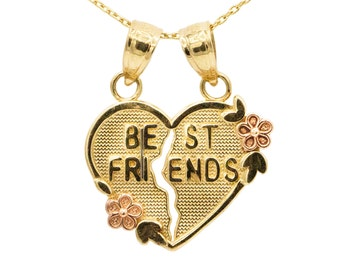 10k Yellow Gold Best Friends Heart Necklace