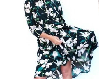 Boho Dress, Floral Dress, Flowers Dress, Women Fashion Dress, Short Dress, Knee Dress, Top Tunic, Spring Dress, Bohemian Dress, Casual Dress