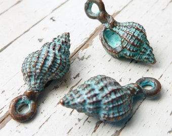 Patina Copper Murex Shell Charms, Pack of 5, Greek Metal, Mykonos Beads