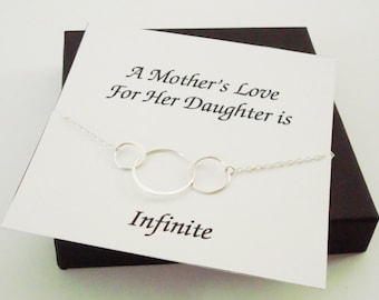 Large Triple Circle Infinity Silver Bracelet ~Personalized Jewelry Gift Card for Daughter, Step Daughter, Graduation, Bridal Party