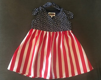 Personalized 4th Of July girls dress, Stars and Stripes Dress, Monogrammed Dress, Star Dress, Sundress Dress, 4th of July Dress