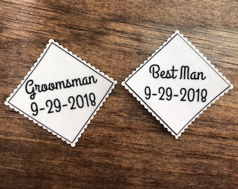 "BEST MAN - GROOMSMAN Tie Patch - Iron On, Sew On, Wedding Tie Patch, From Groom, 2.5"" or 2"" Wide Patch, Best Man Gift, Groomsman Gift"
